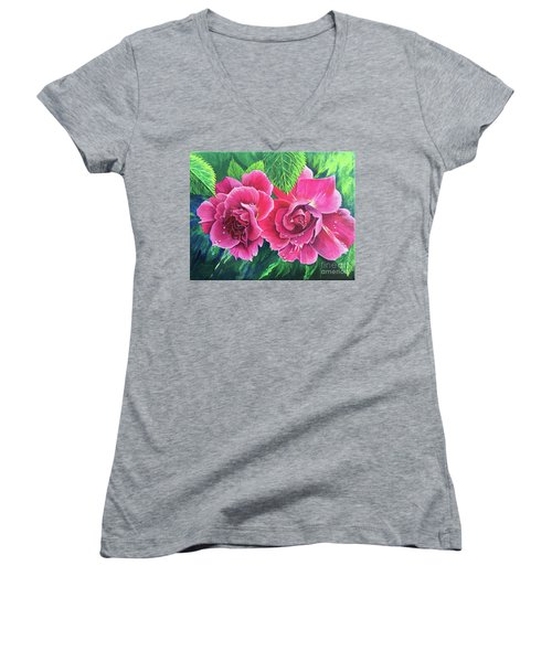 Blossum Buddies Women's V-Neck T-Shirt