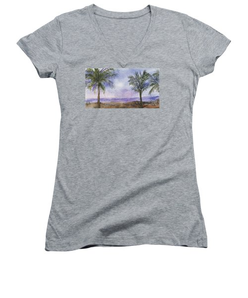Women's V-Neck T-Shirt (Junior Cut) featuring the painting Blowing By The Ocean by Vicki  Housel