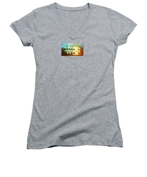 Women's V-Neck T-Shirt (Junior Cut) featuring the photograph Blowing In The Wind by Anne Kotan