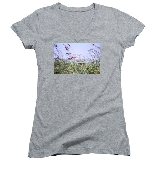 Blowing In The Wind Women's V-Neck T-Shirt (Junior Cut) by Nance Larson