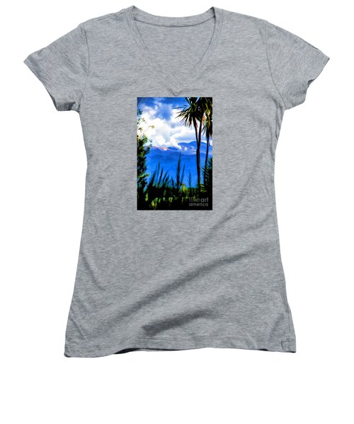 Women's V-Neck T-Shirt (Junior Cut) featuring the photograph Blowing Steam by Rick Bragan