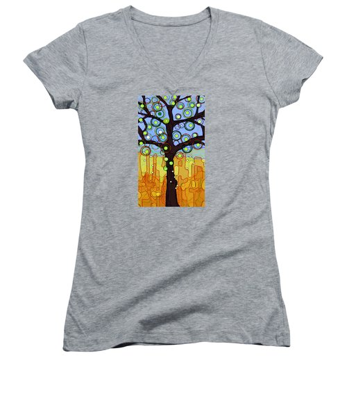 Blue And Gold Women's V-Neck T-Shirt (Junior Cut) by Patricia Arroyo