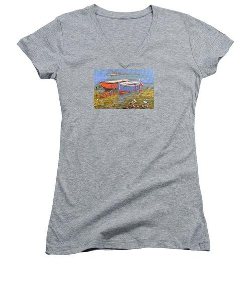 Blue And Orange Women's V-Neck T-Shirt (Junior Cut) by Bill Holkham