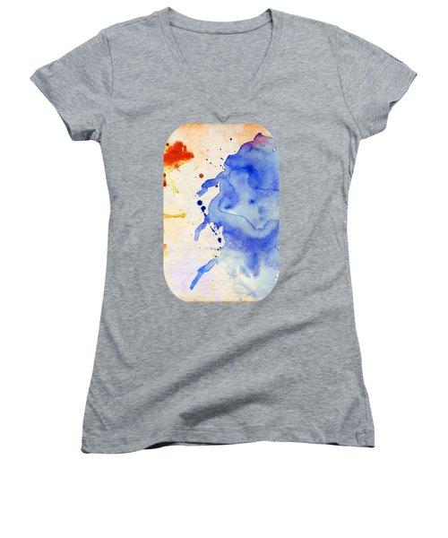 Blue And Orange Color Splash Women's V-Neck (Athletic Fit)
