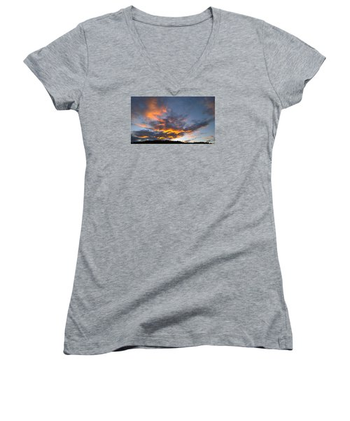 Blue And Orange Sunset Over Blue Ridge Mountains Women's V-Neck T-Shirt (Junior Cut) by Kelly Hazel