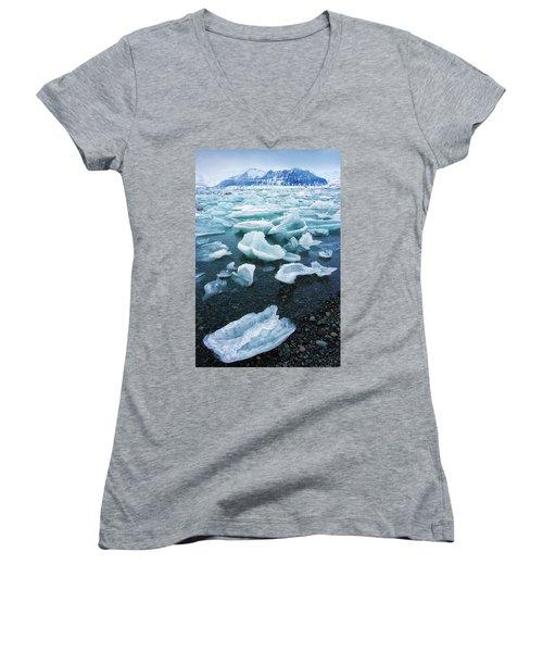 Blue And Turquoise Ice Jokulsarlon Glacier Lagoon Iceland Women's V-Neck T-Shirt (Junior Cut) by Matthias Hauser
