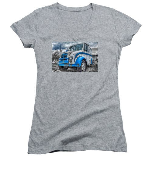 Blue And White Divco Women's V-Neck T-Shirt (Junior Cut) by Guy Whiteley