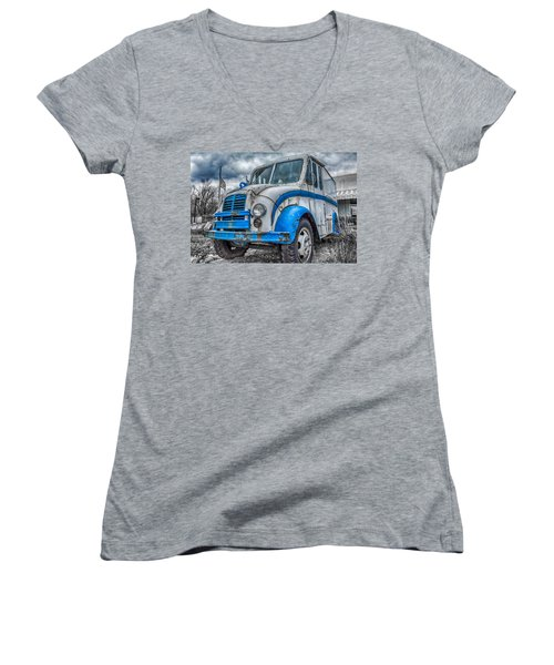Blue And White Divco Women's V-Neck