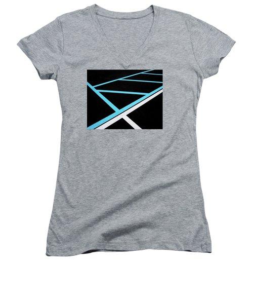 Blue And White Traffic Line Neighbors Women's V-Neck T-Shirt (Junior Cut) by Gary Slawsky