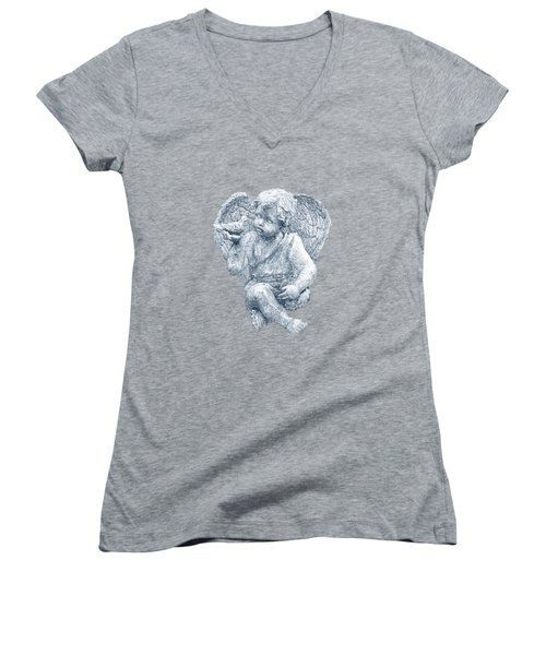 Women's V-Neck T-Shirt (Junior Cut) featuring the photograph Blue Angel Cutout by Linda Phelps