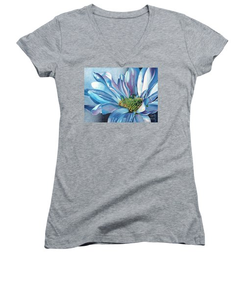 Women's V-Neck T-Shirt (Junior Cut) featuring the painting Blue by Angela Armano