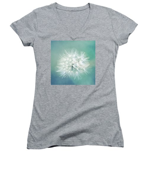 Women's V-Neck T-Shirt (Junior Cut) featuring the photograph Blue Awakening by Trish Mistric
