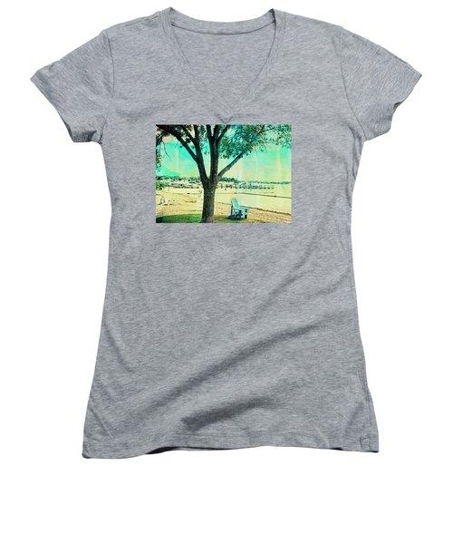 Women's V-Neck T-Shirt (Junior Cut) featuring the photograph Blue Beach Chair by Susan Stone