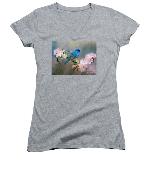 Blue Beauty In The Flowers Women's V-Neck (Athletic Fit)