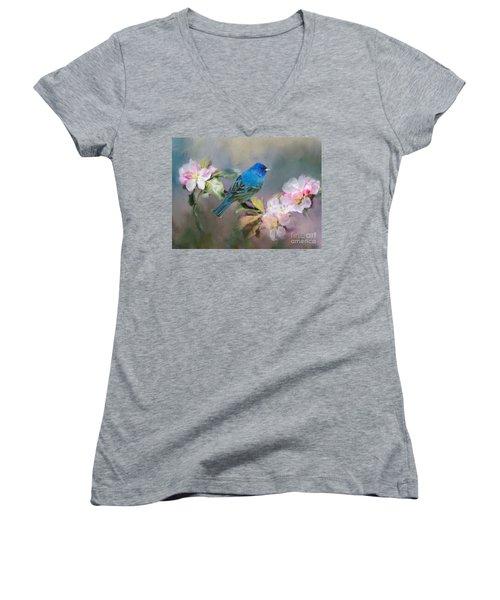 Blue Beauty In The Flowers Women's V-Neck T-Shirt