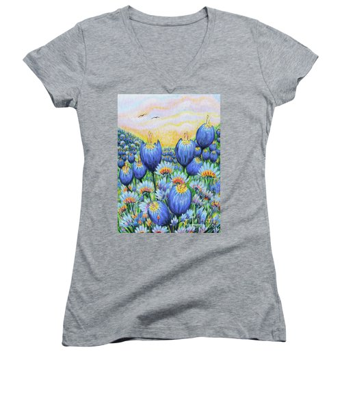 Women's V-Neck T-Shirt (Junior Cut) featuring the painting Blue Belles by Holly Carmichael