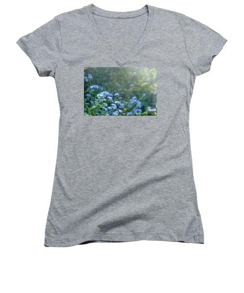 Blue Blooms Women's V-Neck