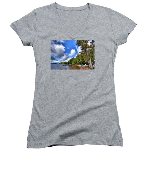 Women's V-Neck T-Shirt featuring the photograph Blue Boat On The Shore by David Patterson