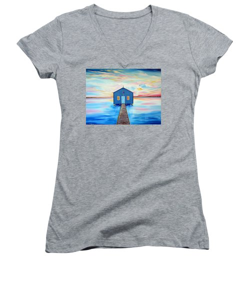 Blue Boat Shed By The Swan River Perth Women's V-Neck T-Shirt