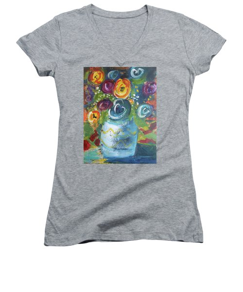 Blue Bouquet Women's V-Neck