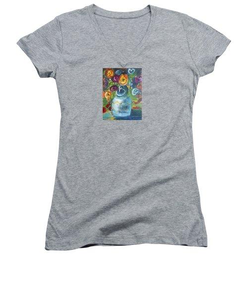 Blue Bouquet Women's V-Neck T-Shirt