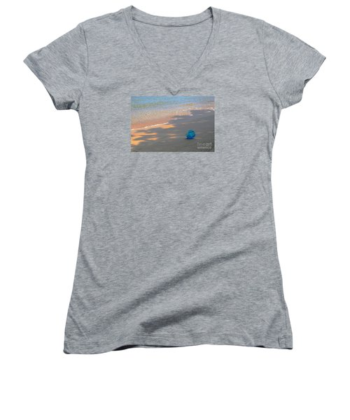 Women's V-Neck T-Shirt (Junior Cut) featuring the photograph Blue Bucket by Jeanette French