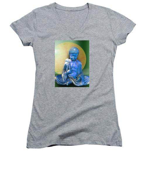 Women's V-Neck T-Shirt (Junior Cut) featuring the photograph Blue Buddha Figurine by Ginny Schmidt