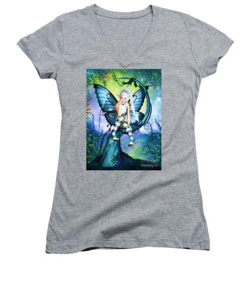 Blue Butterfly Fairy In A Tree Women's V-Neck