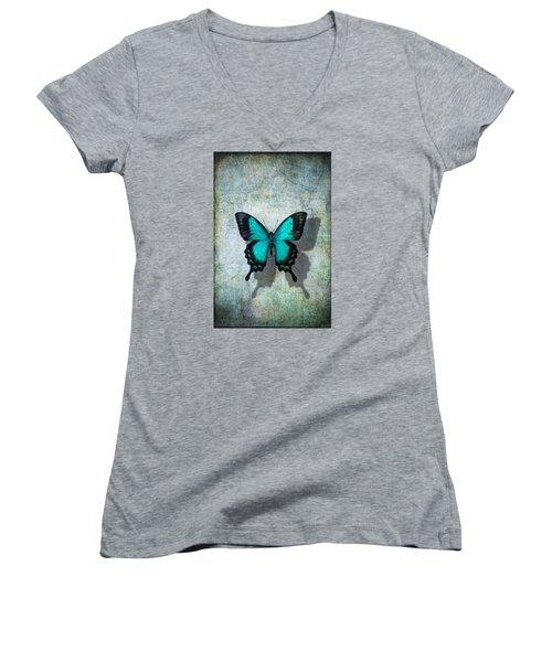 Blue Butterfly Resting Women's V-Neck
