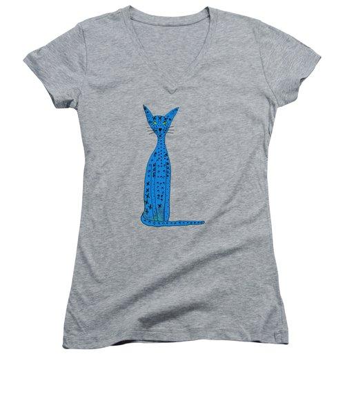 Blue Cat Women's V-Neck T-Shirt