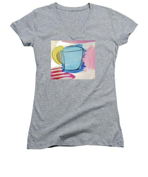 Blue Coffee Mug Women's V-Neck T-Shirt (Junior Cut) by Amara Dacer