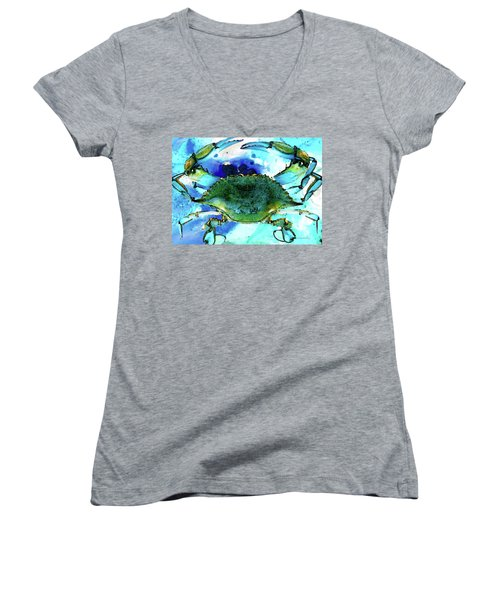 Blue Crab - Abstract Seafood Painting Women's V-Neck