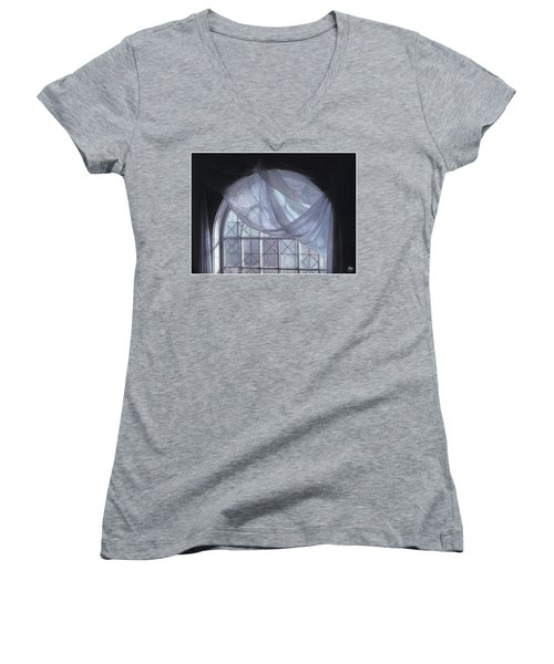 Hand-painted Blue Curtain In An Arch Window Women's V-Neck