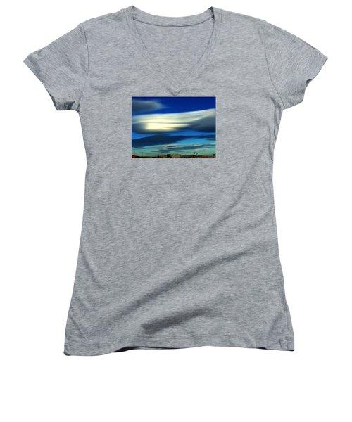 Blue Day Spain  Women's V-Neck T-Shirt (Junior Cut) by Colette V Hera Guggenheim