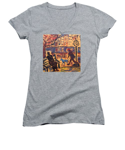 Blue Dog In The City Women's V-Neck