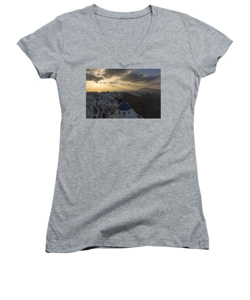 Women's V-Neck T-Shirt (Junior Cut) featuring the tapestry - textile Blue Dome - Santorini by Kathy Adams Clark