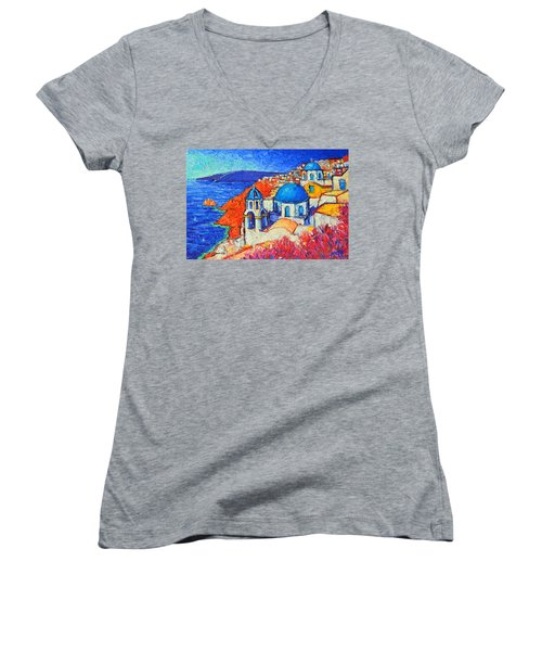Blue Domes In Oia Santorini Greece Original Impasto Palette Knife Oil Painting By Ana Maria Edulescu Women's V-Neck