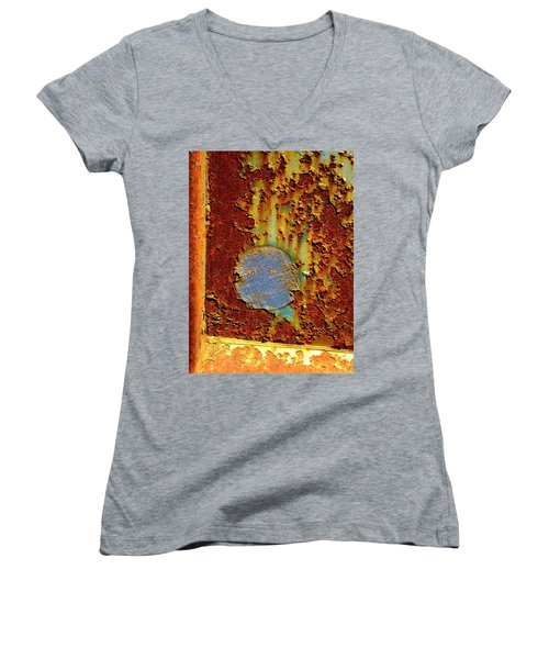 Blue Dot Metal Women's V-Neck T-Shirt