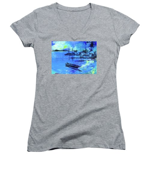 Women's V-Neck T-Shirt (Junior Cut) featuring the painting Blue Dream 2 by Anil Nene
