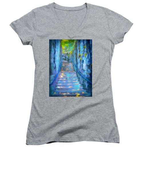 Blue Dream Stairway Women's V-Neck (Athletic Fit)