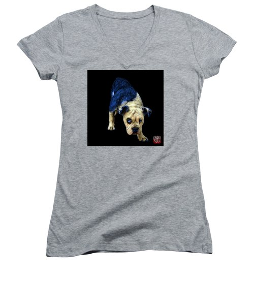 Blue English Bulldog Dog Art - 1368 - Bb Women's V-Neck