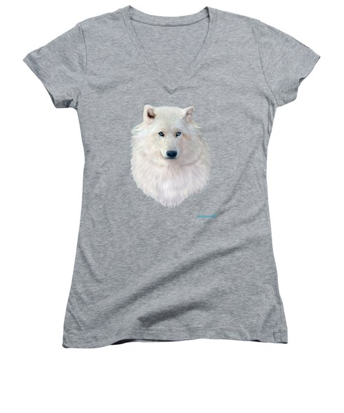 Blue-eyed Snow Wolf Women's V-Neck (Athletic Fit)