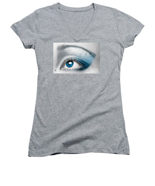 Blue Female Eye Macro With Artistic Make-up Women's V-Neck (Athletic Fit)