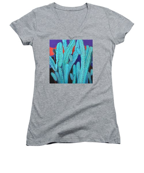 Blue Flame Cactus Acrylic Women's V-Neck T-Shirt (Junior Cut) by M Diane Bonaparte