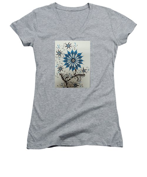 Blue Flower 3 Women's V-Neck T-Shirt