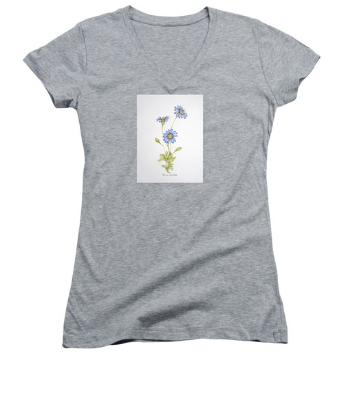 Blue Flower Women's V-Neck T-Shirt