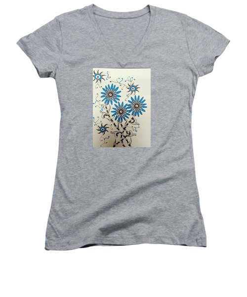 Blue Flowers 2 Women's V-Neck T-Shirt