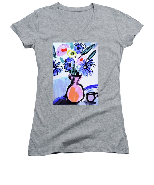 Blue Flowers And Coffee Cup Women's V-Neck T-Shirt