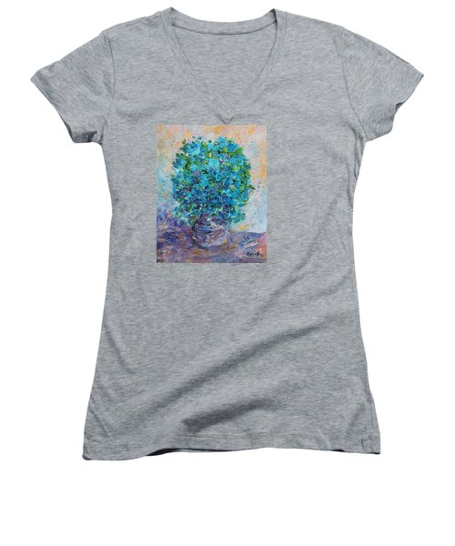 Women's V-Neck T-Shirt (Junior Cut) featuring the painting Blue Flowers In A Vase by AmaS Art