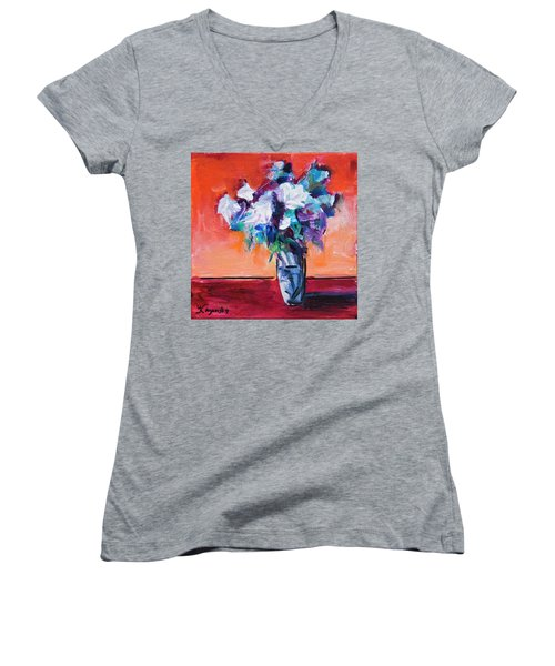 Blue Flowers In A Vase Women's V-Neck T-Shirt